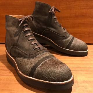 【未使用】 YUKETEN / ユケテン ハラコ x スエード 編み上げブーツ US 8 1/2 E 26.5cm相応 BRN