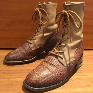 【Ladys/USED】Justin Boots / ジャスティンブーツ コンビレザー ウェスタンブーツ Lady's US 8 1/2 B 25cm相応 BRN