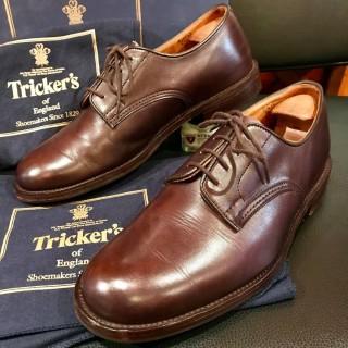 """【美品】Tricker's / トリッカーズ プレーントゥ """"m7278″ UK 8 1/2 Fit 5 27.5cm相応 D.BRN"""