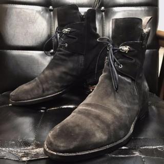 【USED】イタリア製 CESARE PACIOTTI チョザレ パチョッティ スエード レイヤード ブーツ size 61/2 25.5cm相応 黒