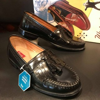 "【DEADSTOCK】90s G.H.BASS / GHバス ""weejuns"" キルト タッセルローファー US 8 1/2 D 26.5cm相応 BLK"