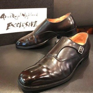 """【USED/BOX付】42ND ROYAL HIGHLAND / 42NDロイヤルハイランド """"EXCLUSIVE"""" シングルモンク SIZE 8 26.5-27cm相応 BLK"""